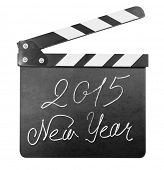 Clapper board with 2015 new year text isolated on white