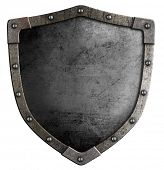 old knight's metal shield isolated on white