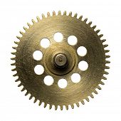 Clockwork gear, metal cogwheel. Isolated on white.