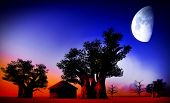 African village at night with big moon