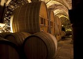 picture of wine cellar  - wine cellar old building with large barrels for storage of fine wines - JPG