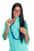 Nurse with glasses and a stethoscope