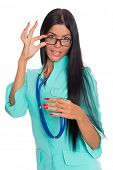 Nurse with glasses and a stethoscope isolated on white