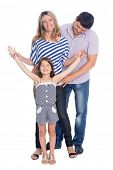 Happy parents with her daughter in full length isolated on white background