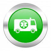 ambulance green circle chrome web icon isolated