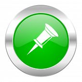 pin green circle chrome web icon isolated
