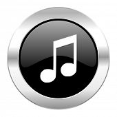 music black circle glossy chrome icon isolated