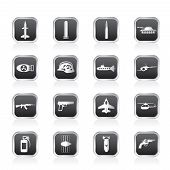 Simple weapon, arms and war icons