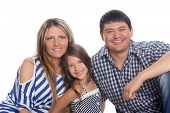Cheerful family isolated on white background