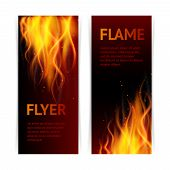 image of flames  - Burning hot flame campfire strokes realistic fire on dark background vertical banners set isolated vector illustration - JPG