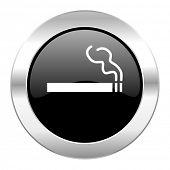 cigarette black circle glossy chrome icon isolated