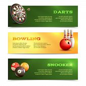 picture of snooker  - Game realistic horizontal banner set with bowling snooker darts isolated vector illustration - JPG