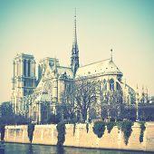 Notre Dame de Paris in France. Instagram style toned image
