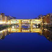 Ponte Vecchio bridge in Florence at night, Italy