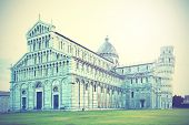 Cathedral and the Leaning tower in Pisa, Italy.Instagram style filtred image