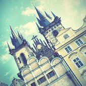 Church of Virgin Maria Before Tyn in Prague. Instagram style filtred image