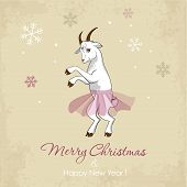 New Year card with a dancing white goat