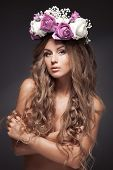 Beautiful Flower Woman. Long Healthy Hair.