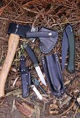 Survival tools, knife, axe and saw