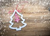 Tradition Christmas decorations on wooden background