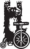 stock photo of tricycle  - Woodcut style image of a circus bear on a tricycle - JPG