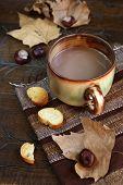 Autumn Still Life: Chestnuts, Leaf Litter And Slice Of Baguette