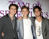 LOS ANGELES - OCT 25:  Emery Kelly, Ricky Garcia, Jon Klaasen, Forever in Your Mind at the Taylor Spreitler's 21st Birthday Party at the CBS Radford Studios on October 25, 2014 in Studio City, CA