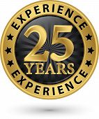 image of experiments  - 25 years experience gold label vector illustration - JPG