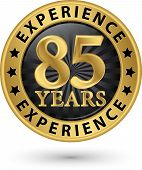 85 Years Experience Gold Label, Vector Illustration
