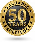 50 Years Valuable Experience Gold Label, Vector Illustration