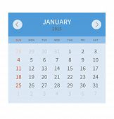Calendar monthly january 2015 in flat design