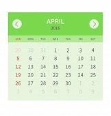Calendar monthly april 2015 in flat design