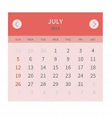 Calendar monthly july 2015 in flat design
