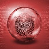 Fingerprint contained in glass sphere with Id Number