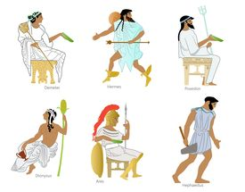 foto of poseidon  - A set of 6 Ancient greek gods and goddesses including Demeter - JPG