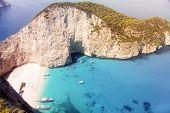 stock photo of shipwreck  - Shipwreck on the beach Navagio on Zakynthos  - JPG