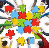 picture of jigsaw  - Jigsaw Puzzle Brainstorming Business Reaching Thinking Strategy Concept - JPG