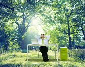 stock photo of relaxation  - Relaxing Business Working Outdoor Green Nature Concept - JPG