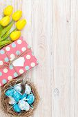 picture of nesting box  - Easter background with blue and white eggs in nest - JPG