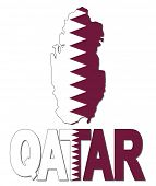 picture of qatar  - Qatar map flag and text illustration - JPG