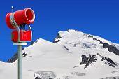 stock photo of top-gun  - Snow gun in the Swiss Alps - JPG
