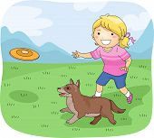 foto of frisbee  - Illustration of a Little Girl Playing Frisbee With Her Pet Dog - JPG