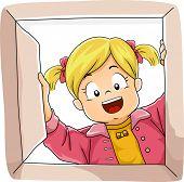 picture of peek  - Illustration of a Little Girl Peeking Inside a Box - JPG