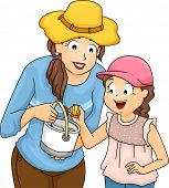 pic of beach shell art  - Illustration of a Mother and Daughter Picking Shells - JPG