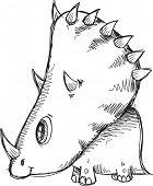 foto of dinosaur  - Doodle Sketch Triceratops  Dinosaur Vector Illustration - JPG