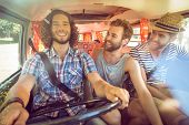 pic of road trip  - Hipster friends on road trip on a summers day - JPG