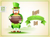 pic of pot gold  - Creative poster or banner design with leprechaun holding gold coins pot on nature background - JPG