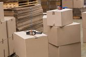 picture of dispatch  - Preparation of goods for dispatch in a large warehouse - JPG