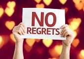 stock photo of saying sorry  - No Regrets card with heart bokeh background - JPG