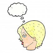 image of raised-eyebrow  - cartoon woman raising eyebrow with thought bubble - JPG
